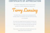 Appreciation Certificate Regarding Volunteer Award throughout Printable Volunteer Award Certificate Template
