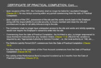 Architect'S Certification Under The Pam Contract 2006 for Quality Jct Practical Completion Certificate Template