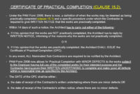 Architect'S Certification Under The Pam Contract 2006 For within Jct Practical Completion Certificate Template