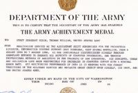 Army Achievement Medal With Certificate Of Achievement intended for Free Army Certificate Of Completion Template