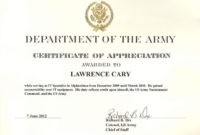 Army Appreciation Certificate Templates Pdf Docx Free intended for Army Certificate Of Completion Template
