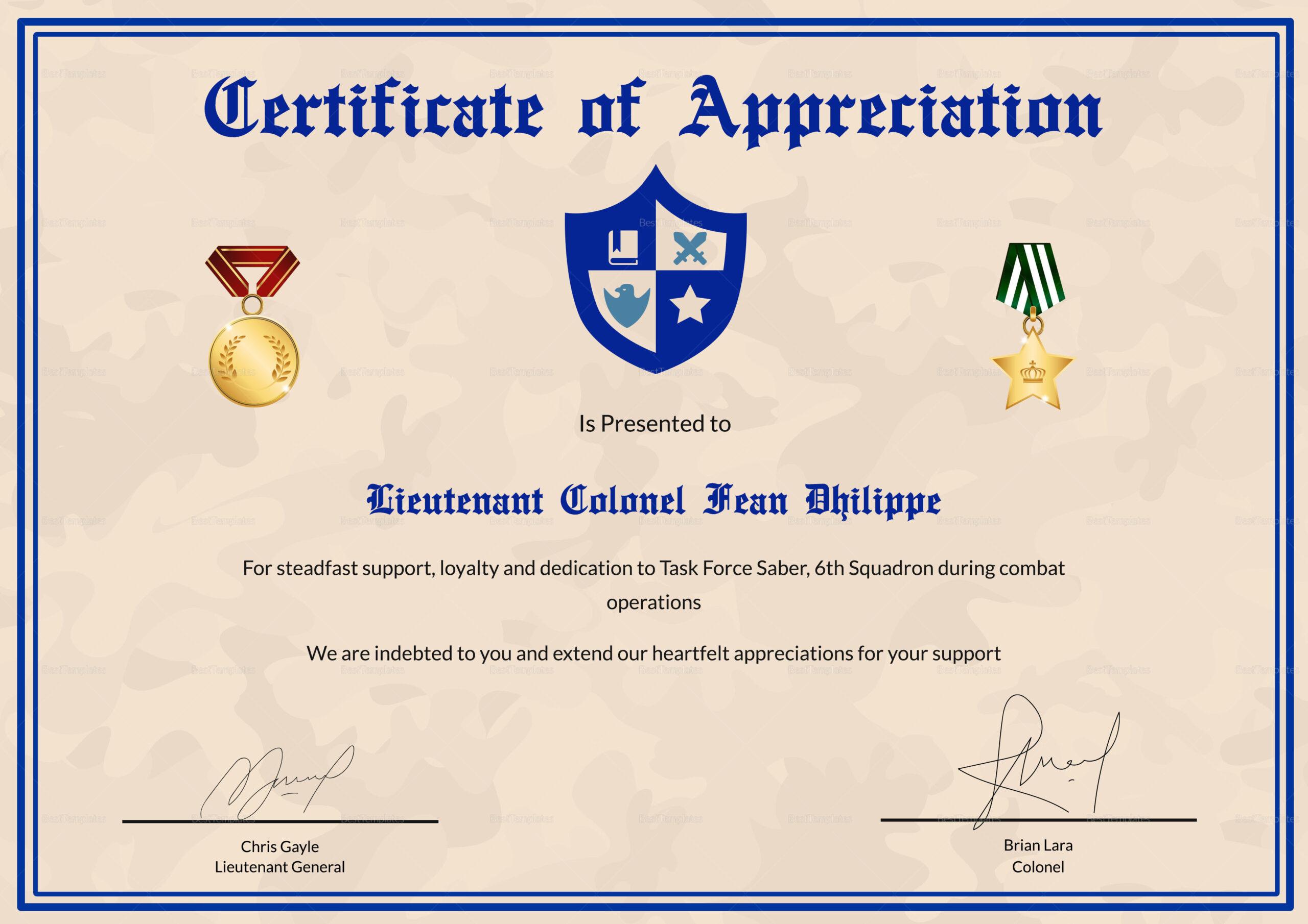 Army Certificate Of Appreciation Template  Best Business within Army Certificate Of Appreciation Template