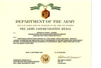 Army Good Conduct Medal Certificate Template  Best intended for Free Good Conduct Certificate Template