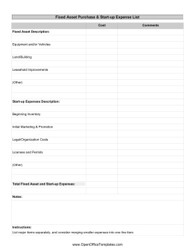 Asset Purchases And Startup Expenses  Openoffice Template pertaining to Best Business Startup Cost Template