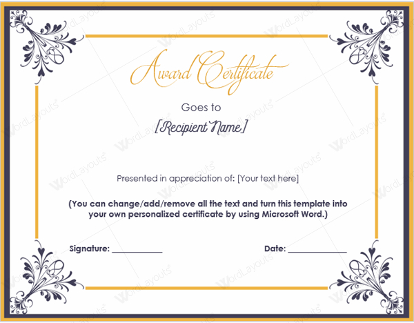 Award Certificate 14  Word Layouts intended for Donation Certificate Template Free 14 Awards