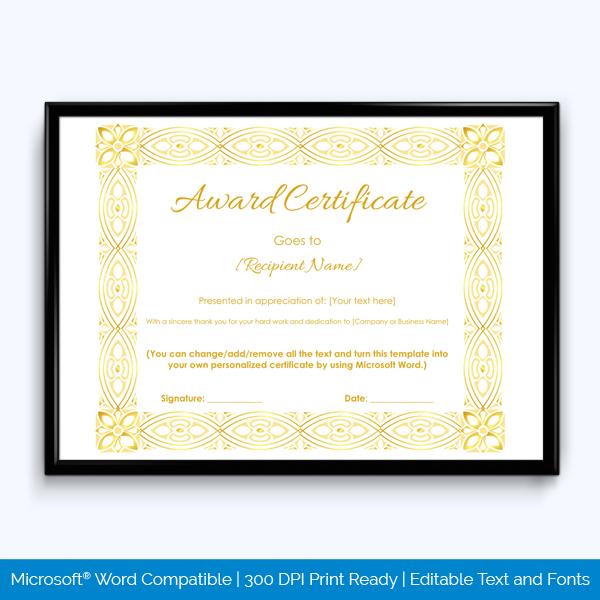 Award Certificate Golden Vintage Border  Word Layouts regarding Award Certificate Templates Word 2007