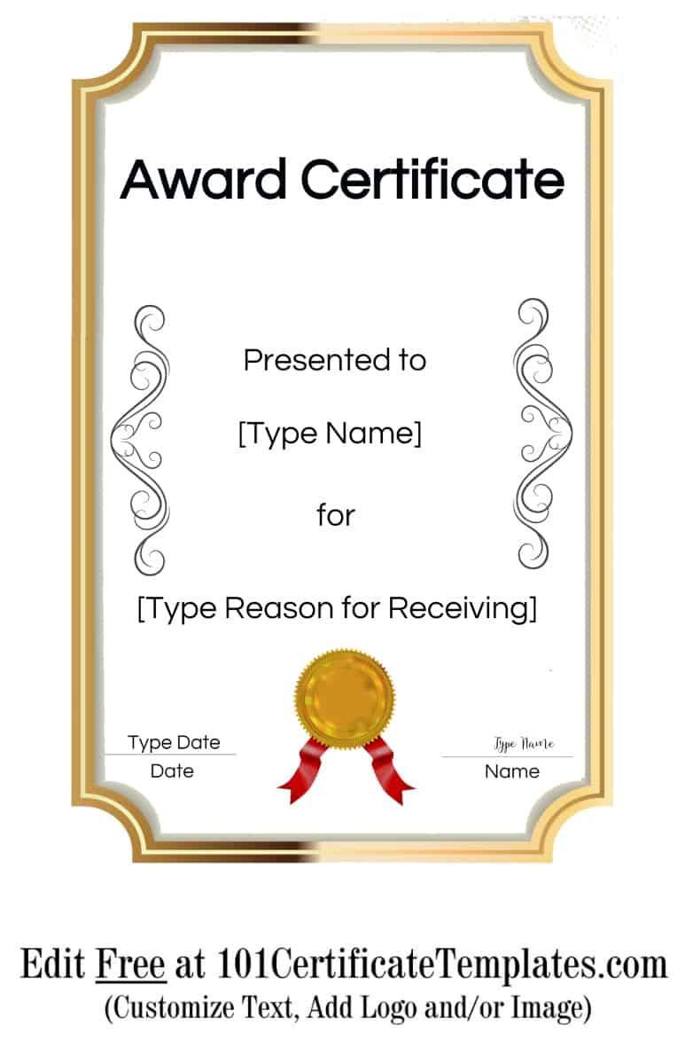 Award Certificate Template Free  Daisy Blake for Contest Winner Certificate Template