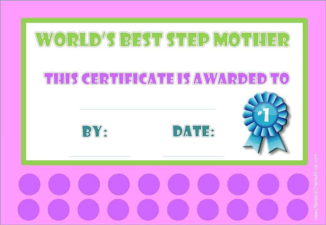 Award Certificates For Stepmother with regard to Amazing 9 Worlds Best Mom Certificate Templates Free