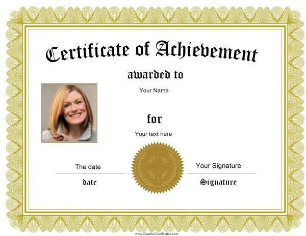 Award With Photo  Awards Certificates Template for Science Achievement Award Certificate Templates