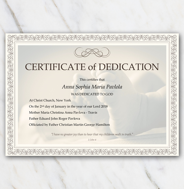 Baby Dedication Certificate Babyfeet With Frame Template pertaining to Awesome Small Certificate Template