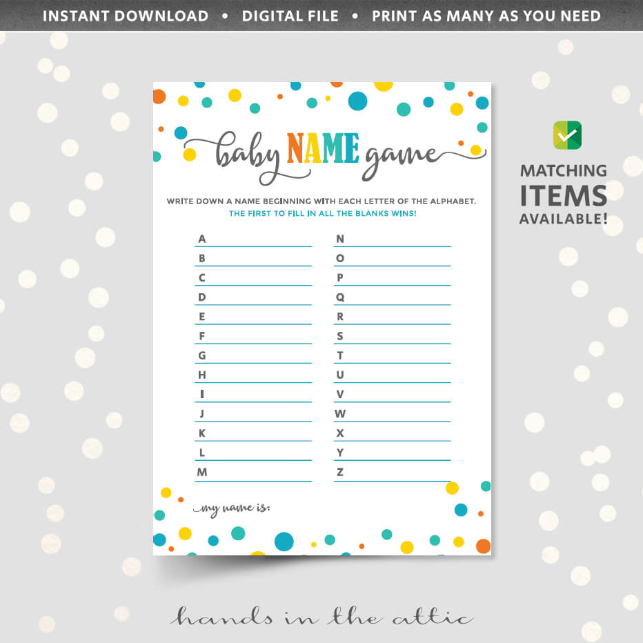 Baby Name Game  Gender Neutral  Hands In The Attic within Baby Shower Gift Certificate Template Free 7 Ideas