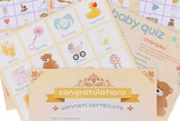 Baby Shower Games 4 Games Party Pack Bingo Charades regarding Baby Shower Winner Certificates