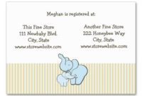 Baby Shower Registry Card Blue Elephant Hugs Business Card with Best Baby Shower Gift Certificate Template
