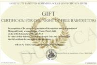 Babysitting Gift Certificate  Emmamcintyrephotography inside Best Babysitting Certificate Template
