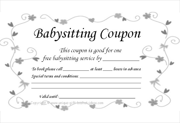 Babysitting Gift Certificate  Emmamcintyrephotography pertaining to Quality Babysitting Certificate Template 8 Ideas