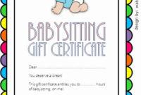 Babysitting Gift Certificate Template Lovely Babysitting in Free Babysitting Gift Certificate Template