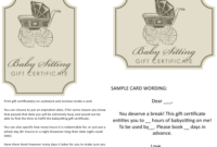 Babysitting Gift Certificate Templates Download Printable for Amazing Free Printable Babysitting Gift Certificate