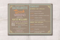 Bachelorette Party Weekend Invitation And Itinerary Custom with Best Bachelorette Party Agenda Template