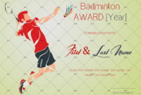 Badminton Award Certificate Green Themed  Gct with regard to Badminton Certificate Templates