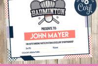 Badminton Certificate  3Grafik  Badminton Certificate regarding Badminton Certificate Templates