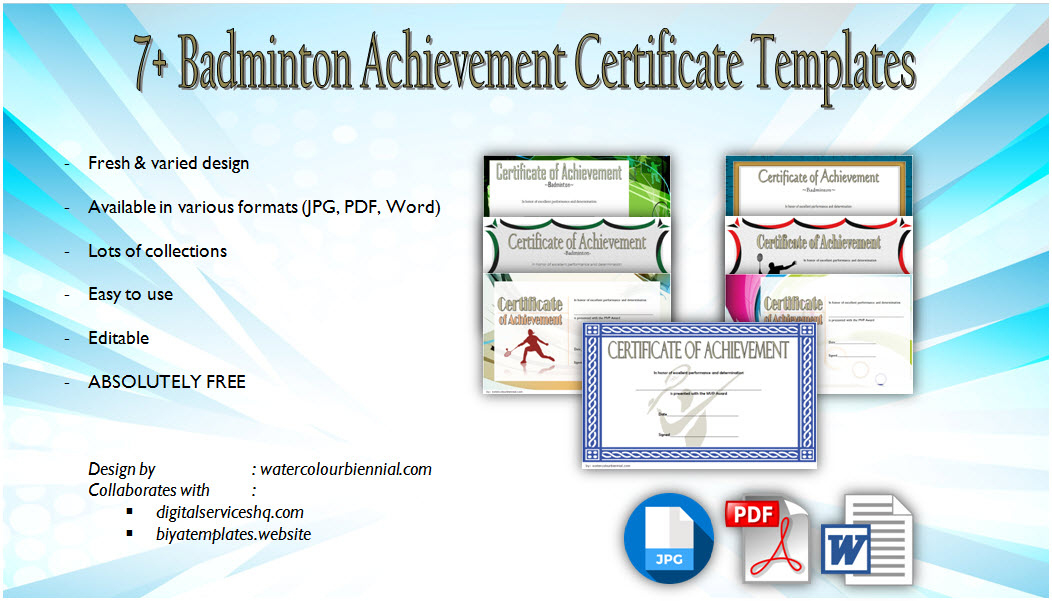 Badminton Certificate Templates 8 Spectacular Designs with regard to Awesome Badminton Certificate Templates