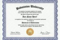 Badminton Degree Custom Gag Diploma Doctorate Certificate regarding Badminton Achievement Certificates
