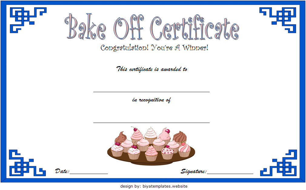 Bake Off Certificate Template  7 Best Ideas pertaining to Blessing Certificate Template Free 7 New Concepts