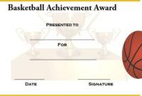Basketball Achievement Certificate Templates  Certificate in Free Basketball Camp Certificate Template