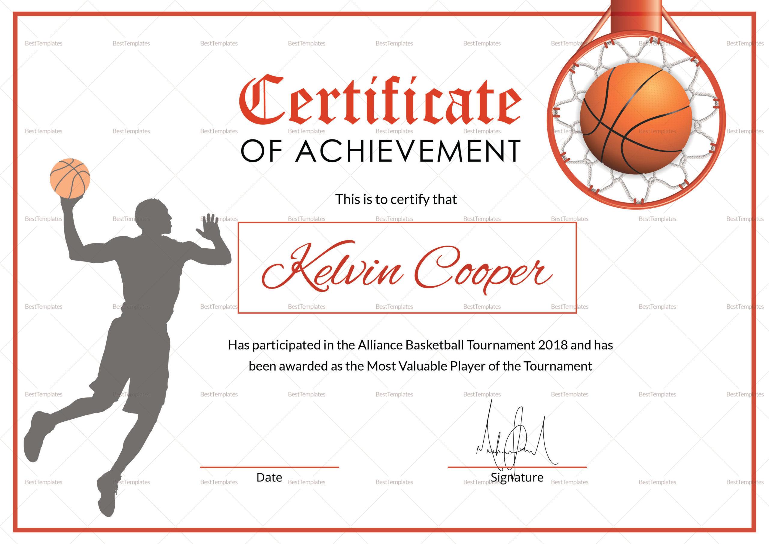 Basketball Award Achievement Certificate Design Template regarding Baseball Certificate Template Free 14 Award Designs