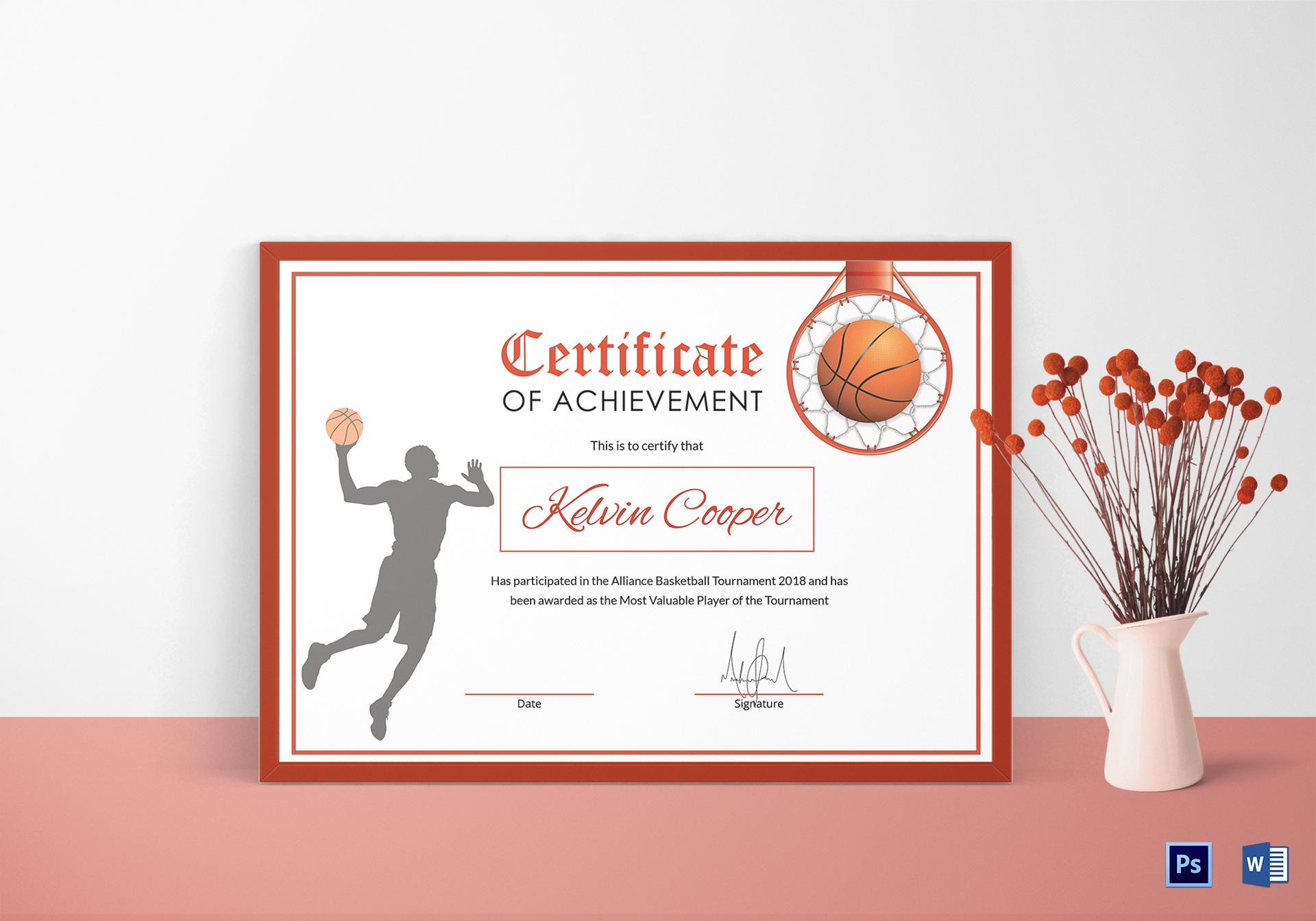 Basketball Award Achievement Certificate Design Template with regard to Basketball Certificate Template Free 13 Designs