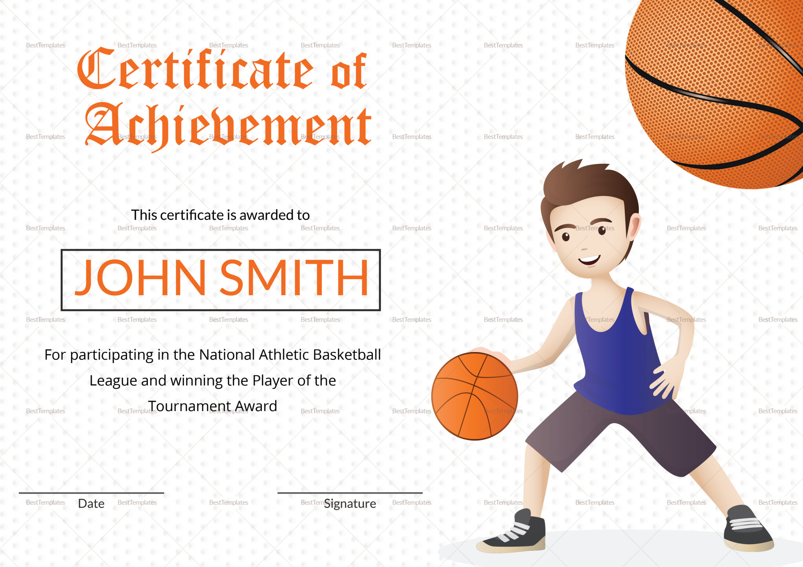 Basketball Certificate Design Template In Word Psd with Best Basketball Certificate Templates