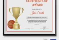 Basketball Certificate Template  12 Free Word Pdf Psd intended for Basketball Tournament Certificate Templates
