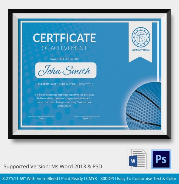 Basketball Certificate Template  14 Free Word Pdf Psd throughout Amazing Basketball Tournament Certificate Template Free