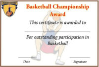 Basketball Championship Certificate Template  Certificate with regard to Chess Tournament Certificate Template Free 8 Ideas