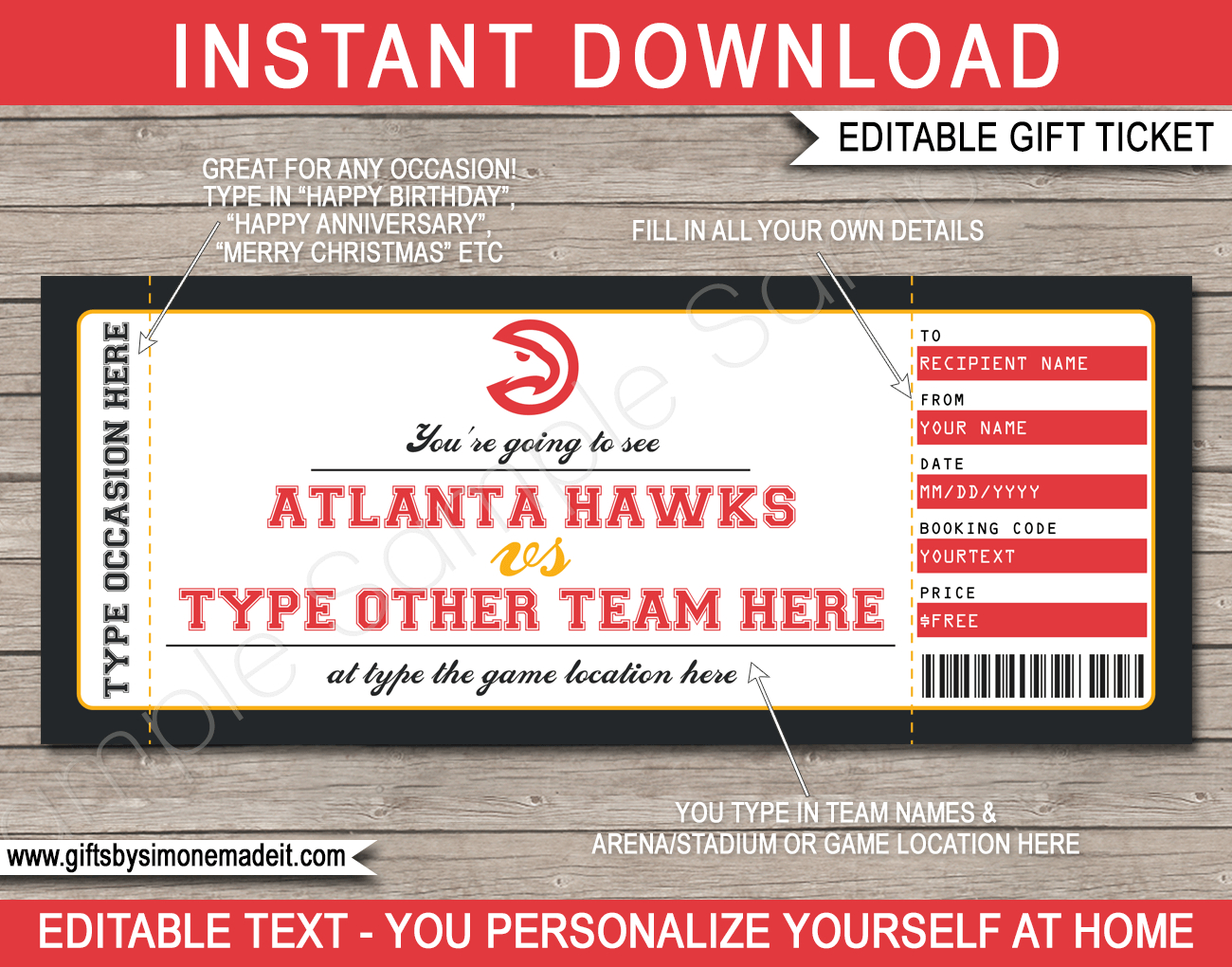 Basketball Game Ticket Birthday Gift Voucher  Printable with regard to Awesome Basketball Gift Certificate Template