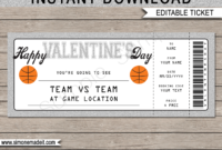 Basketball Game Ticket Valentine'S Day Gift Voucher inside Printable Basketball Gift Certificate Templates