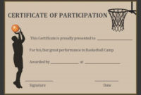Basketball Participation Certificate 10 Free inside Quality Basketball Certificate Template Free 13 Designs
