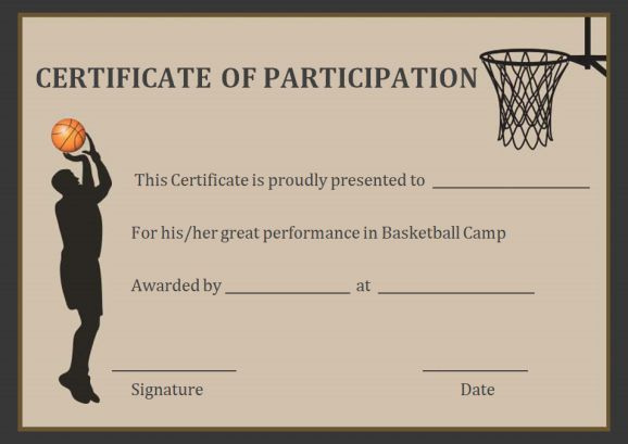 Basketball Participation Certificate 10 Free intended for Netball Participation Certificate Editable Templates