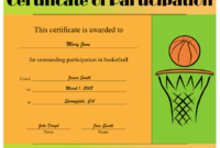 Basketball Participation Certificate Printable Certificate within Basketball Participation Certificate Template