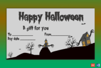 Bats Themed Halloween Gift Certificate  Gct with Amazing Halloween Gift Certificate Template Free