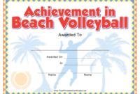 Beach Volleyball Certificate Of Achievement Template with regard to Volleyball Mvp Certificate Templates