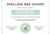 Bee Certificate Template intended for Printable Spelling Bee Award Certificate Template