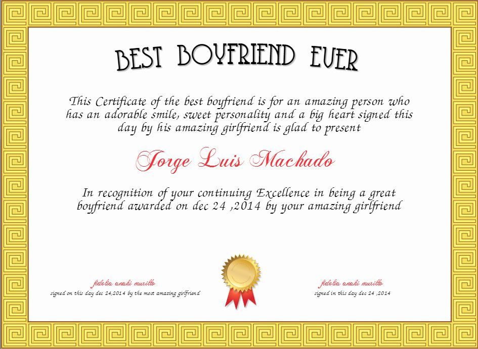 Best Boyfriend Certificate Template Elegant Best Boyfriend regarding Free Membership Certificate Template Free 20 New Designs