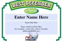 Best Defender Football Certificate  Sports Feel Good Stories regarding Soccer Certificate Template Free 21 Ideas