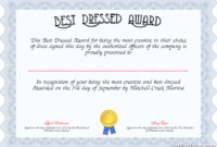 Best Dressed Award Certificate  Created With regarding Best Dressed Certificate