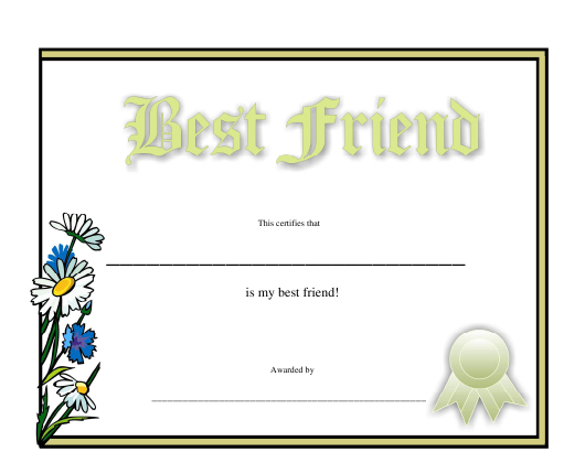 Best Friend Certificate Template Download Printable Pdf intended for Free Best Wife Certificate Template