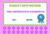Best Mom Award  Customize Online  Print At Home in Mothers Day Gift Certificate Templates