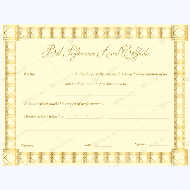 Best Performance Award Certificate 04  Award Certificates for Best Performance Certificate Template