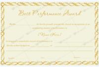 Best Performance Award Template 13  Award Template with Amazing Best Performance Certificate Template