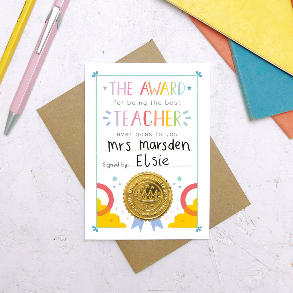Best Teacher Certificate Cardjoanne Hawker intended for Quality Best Teacher Certificate